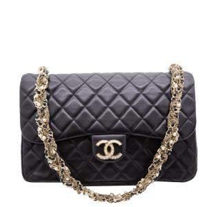 Chanel Black Leather Westminster Pearl Medium Flap Bag