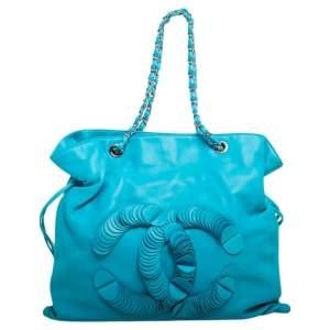 Chanel Turquoise Leather Disc Bon Bon Bag