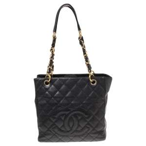 Chanel Black Quilted Caviar Leather Petite Shopper Tote