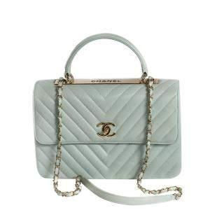Chanel Green Leather Chevron Trendy CC Flap Bag