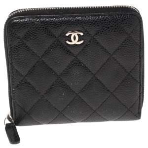 Chanel Black Caviar Leather Petit Portefeuille Wallet