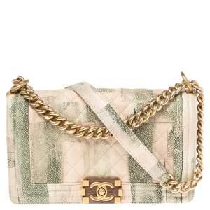 حقيبة شانيل بوي جلد كافيار طباعة ألوان مائية مبطن أخضر/بيج متوسطة