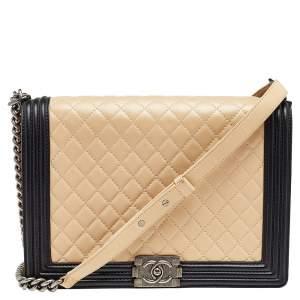 Chanel Beige/Black Quilted Leather Large Boy Flap Bag