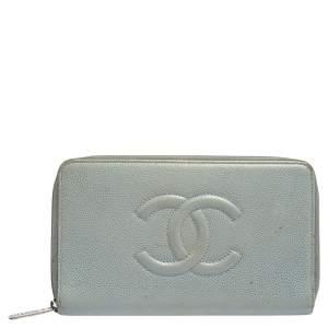 Chanel Blue Caviar Leather CC Timeless Zip Around Organizer Wallet