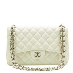 Chanel White Lambskin Leather Classic Jumbo Double Flap Bag