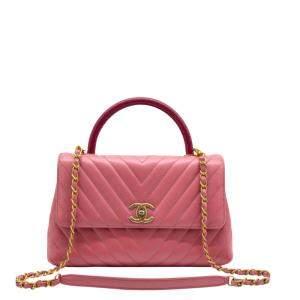 Chanel Pink Medium Leather Chevron Top Handle Bag