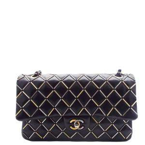 Chanel Black Lambskin Leather Medium Embellished Flap Bag