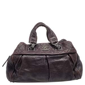 Chanel Purple Pleated Leather Doctors Bag