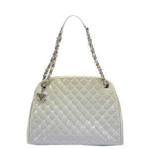 Chanel White Patent Leather Mademoiselle Shoulder Bag