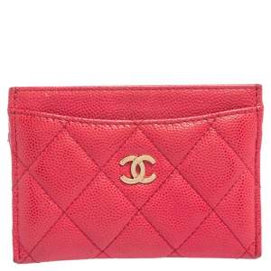 Chanel Pink Quilted Caviar Leather Classic Card Holder
