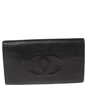 Chanel Black Caviar Timeless CC L Yen Wallet