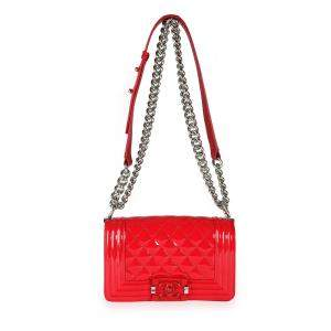 Chanel Red Quilted Patent Leather Plexiglass Small Boy Flap Bag