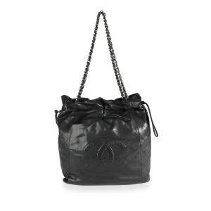 Chanel Black Leather Drawstring Timeless Shoulder Bag