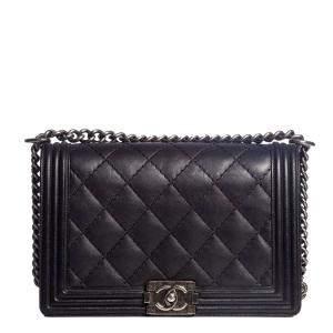Chanel Black Leather Medium Double Stitch Boy Bag