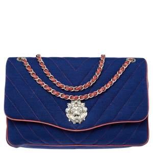 Chanel Blue Chevron Jersey and Leather Trim Leo Lion Single Flap Bag