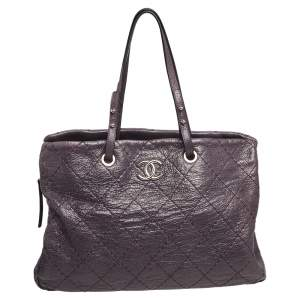 Chanel Purple Quilted Glazed Leather Large On the Road Tote