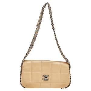 Chanel Beige Choco Bar Leather Multiple Chain Shoulder Bag