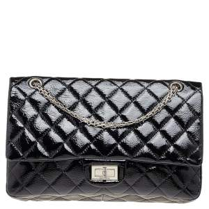 Chanel Black Quilted Patent Leather 2.55 Reissue 227 Double Flap Bag