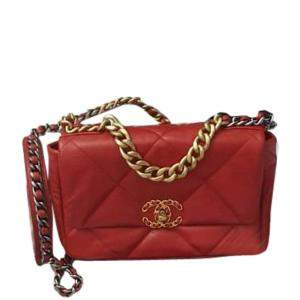 Chanel Red Quilted Leather 19 Flap Bag