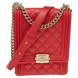 Chanel Red Quilted Leather North South Boy Shoulder Bag