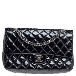 Chanel Black Quilted Patent Leather Medium Classic Double Flap Bag