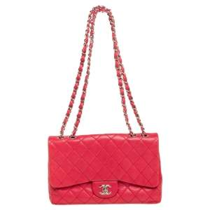 Chanel Pink Quilted Caviar Leather Jumbo Classic Single Flap Bag