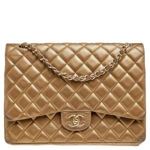 Chanel Gold Quilted Leather Maxi Classic Double Flap Bag