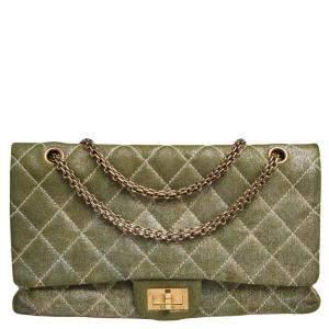 Chanel Metallic Khaki Quilted Denim Reissue 2.55 Classic 227 Flap Bag