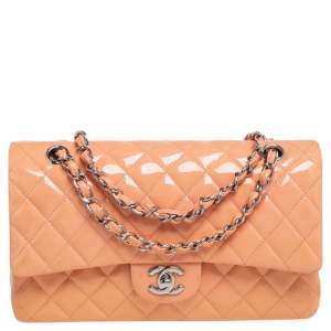 Chanel Peach Quilted Patent Leather Medium Classic Double Flap Bag