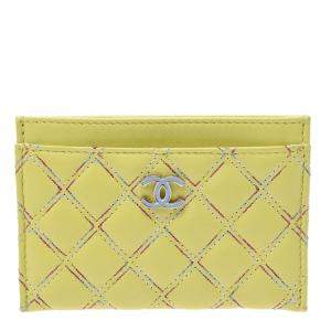 Chanel Yellow Quilted Leather Card Wallet