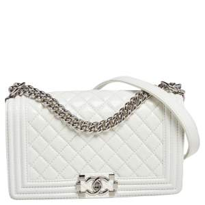 Chanel White Quilted Leather Medium Boy Flap Bag