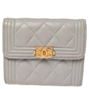 Chanel Grey Quilted Caviar Leather Boy Wallet