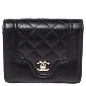 Chanel Black Quilted Lambskin Leather Futuristic Wallet