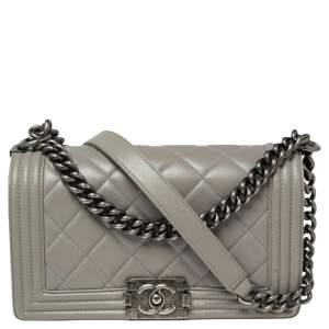 Chanel Grey Quilted Leather Medium Boy Bag