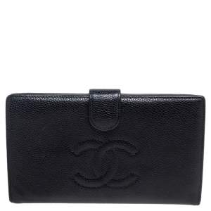 Chanel Black Caviar Leather CC Timeless Vintage Wallet