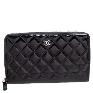 Chanel Black Quilted Patent Leather CC Zip Around Organizer Wallet