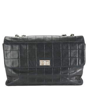 Chanel Black Lambskin Leather Square-Quilted Reissue Single Flap Bag