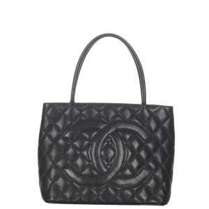 Chanel Black Caviar Leather Medallion Tote Bag