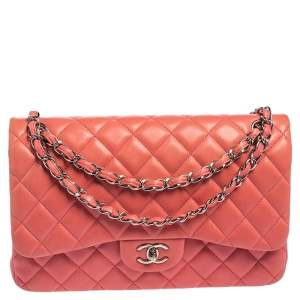 Chanel Pink Quilted Lambskin Leather Jumbo Classic Single Flap Bag