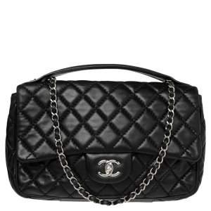 Chanel Black Lambskin Leather Jumbo Easy Carry Flap Bag