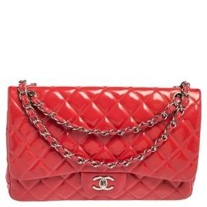 Chanel Coral Pink Quilted Patent Leather Jumbo Classic Double Flap Bag