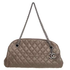 Chanel Dark Beige Leather Small Just Mademoiselle Bowler Bag