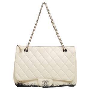 Chanel White/Black Quilted Leather Maxi Blizzard Zip Top Flap Bag