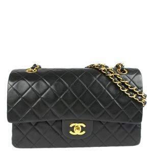 Chanel Black Leather Vintage Double Flap Shoulder Bag
