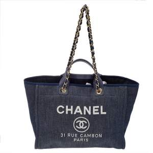 Chanel Navy Blue Denim Large Deauville Shopping Tote