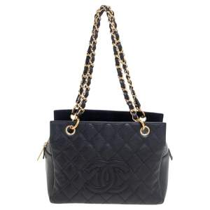Chanel Black Quilted Caviar Leather Petite Timeless Shopper Tote