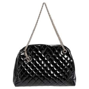 Chanel Black Quilted Patent Leather Medium Just Mademoiselle Bowler Bag