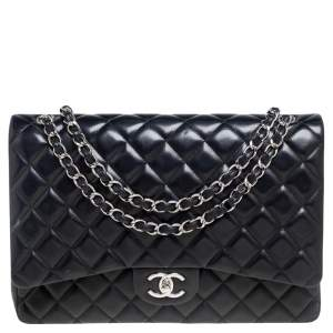 Chanel Black Quilted Lambskin Leather Maxi Classic Double Flap Bag