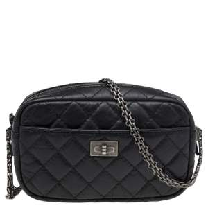 Chanel Black Aged Quilted Leather Mini Reissue Camera Bag