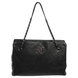 Chanel Black Quilted Leather Hampton Large Flap Bag